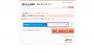 日本年金機構:ねんきんネット(ユーザID確認:パスワード入力)